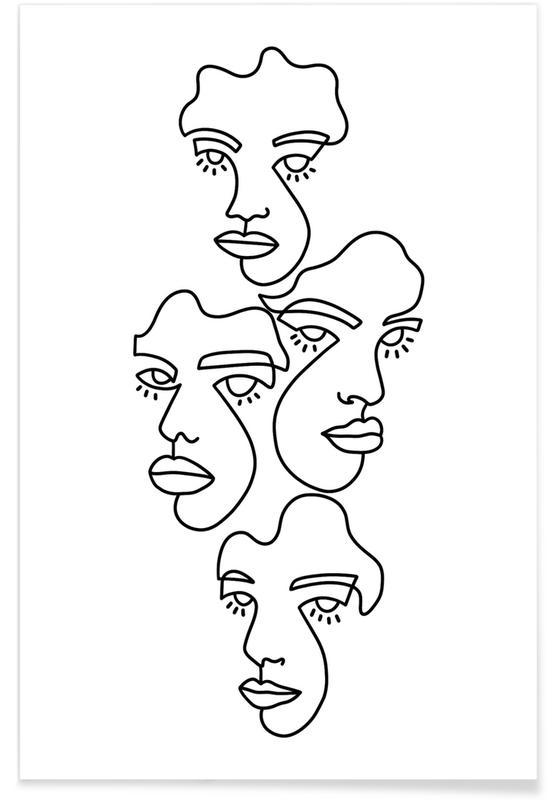 Schwarz & Weiß, Porträts, Traumwelt, Lost In Thoughts -Poster