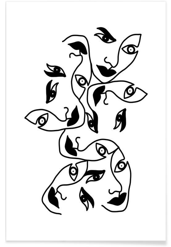 Schwarz & Weiß, Porträts, Traumwelt, Overthinking -Poster