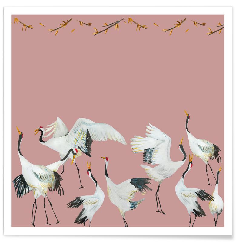 D'inspiration japonaise, Forêts, Japanese Crane Dance Pink affiche