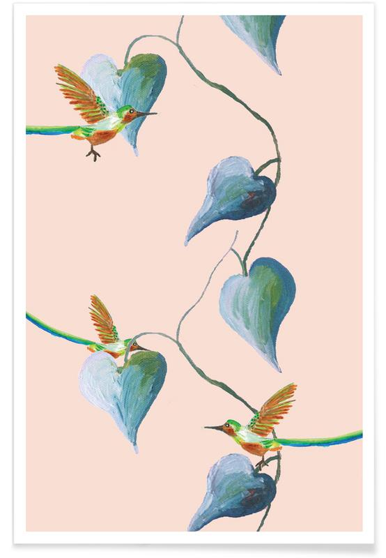 Forests, Jungle Stories Birds Pink Poster
