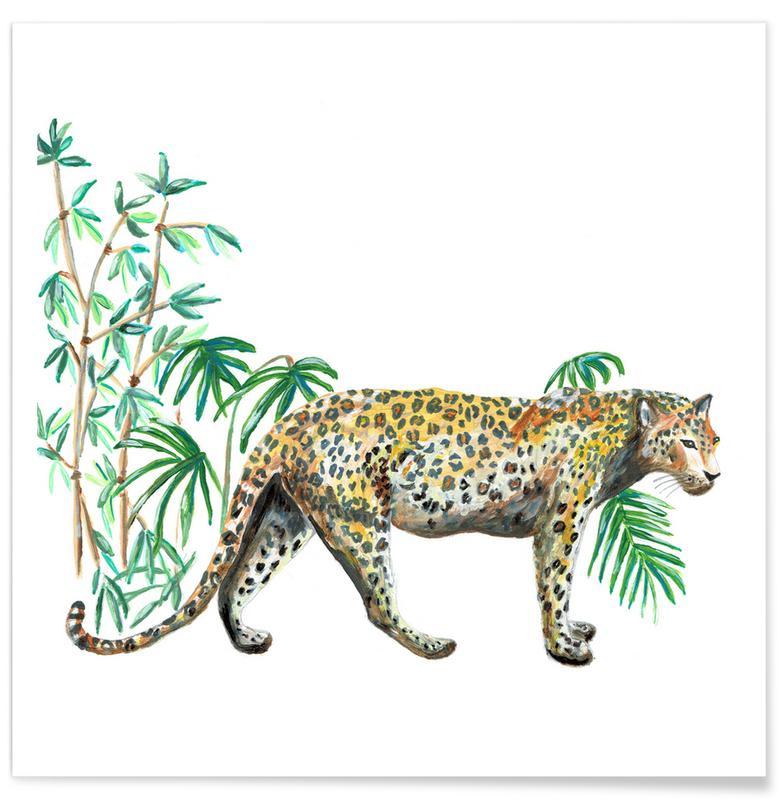 Wälder, Japanisch inspiriert, Leopard -Poster