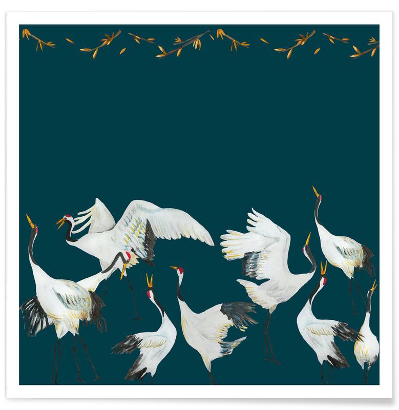 Wälder, Japanisch inspiriert, Japanese Crane Dance Blue -Poster