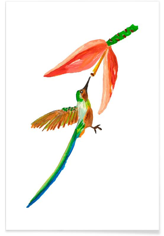 Japanese Inspired, Forests, Hummingbird and Flower Poster