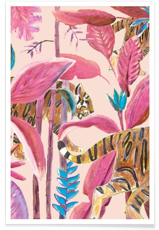 Forests, Jungle Stories Tiger Pink Poster