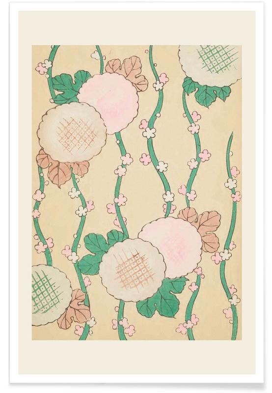 Vintage voyage, D'inspiration japonaise, Shin-Bijutsukai - Pastel Florals affiche