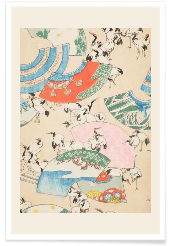 Vintage Reise, Japanisch inspiriert, Shin-Bijutsukai - Cranes -Poster