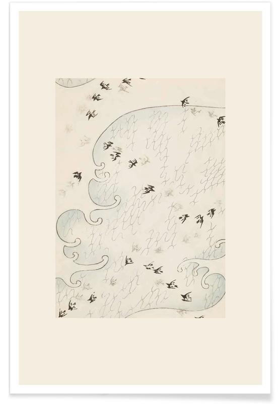 Vintage reis, Japans geïnspireerd, Shin-Bijutsukai - Flight Over Water poster