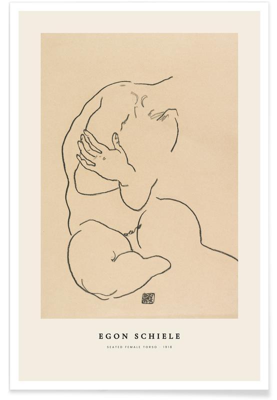 Egon Schiele, Détails corporels, Schiele - Seated Female Torso affiche