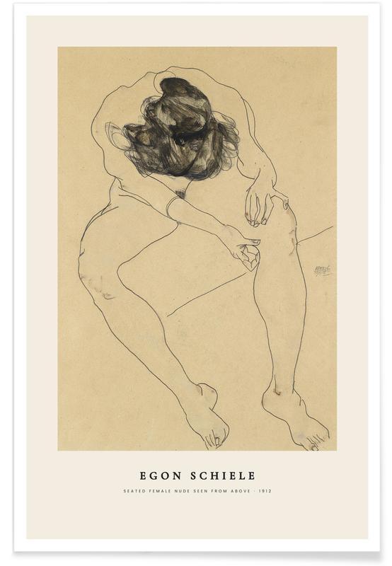 Egon Schiele, Détails corporels, Schiele - Seated Female Nude affiche