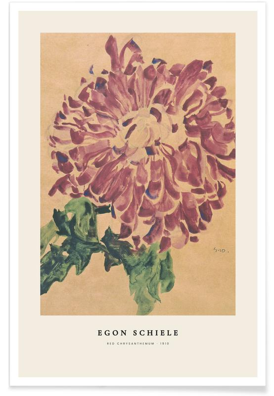Egon Schiele, Schiele - Red Chrysanthemum affiche