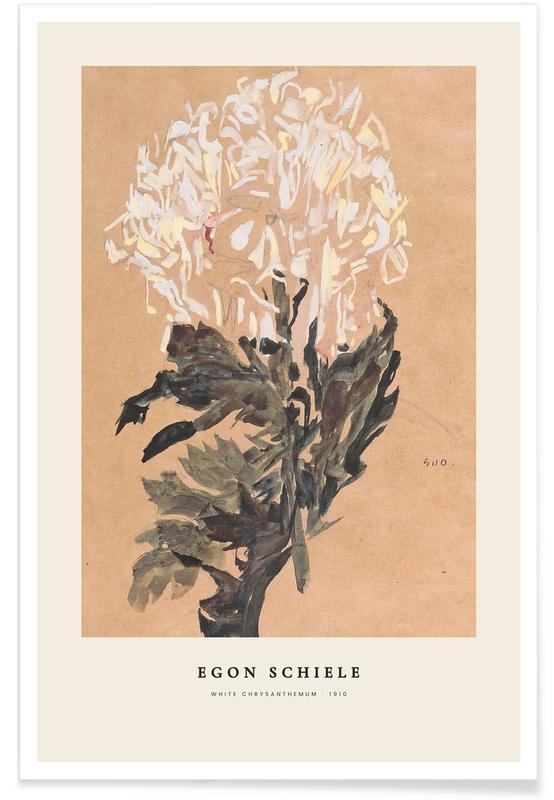 Egon Schiele, Schiele - White Chrysanthemum affiche