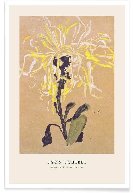 Egon Schiele, Schiele - Yellow Chrysanthemum affiche