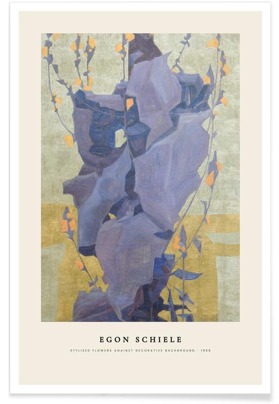 Egon Schiele, Schiele - Stylised Flowers -Poster