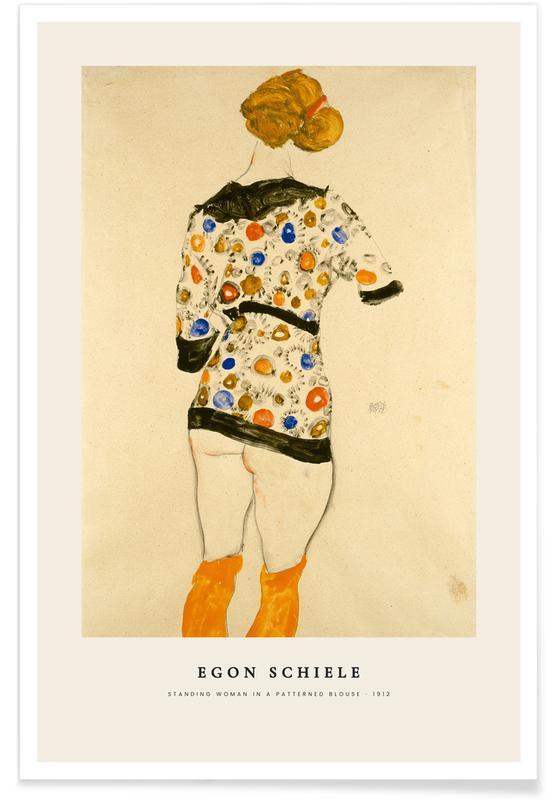 Egon Schiele, Egon Schiele - Standing Woman In A Patterned Blouse - 1912 affiche
