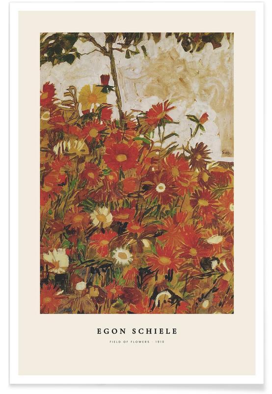 Egon Schiele, Egon Schiele - Field Of Flowers - 1910 affiche