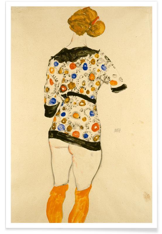 Egon Schiele, Egon Schiele - Standing Woman in a Patterned Blouse Poster