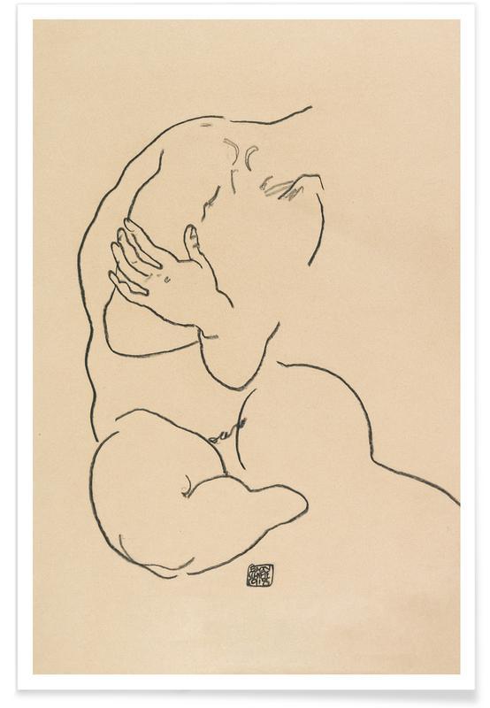 Egon Schiele, Nus, Schiele - Seated Female Torso II affiche
