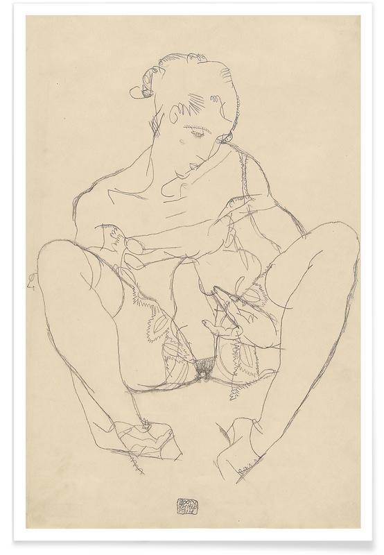 Egon Schiele, Nus, Egon Schiele - Seated Woman in Chemise affiche