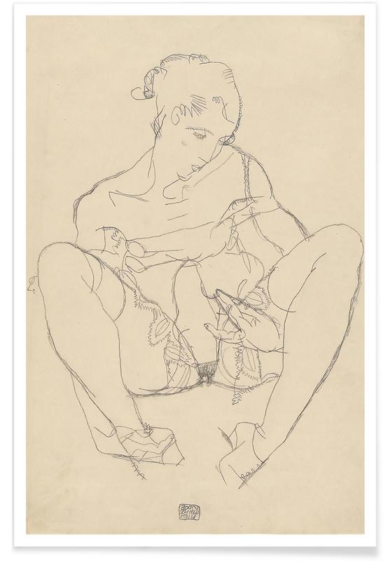 Akte, Egon Schiele, Egon Schiele - Seated Woman in Chemise -Poster