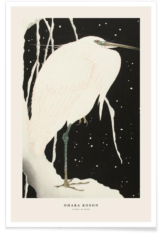 Japanisch inspiriert, Koson - Heron in Snow -Poster