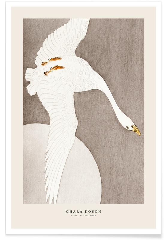 D'inspiration japonaise, Koson - Goose at Full Moon affiche