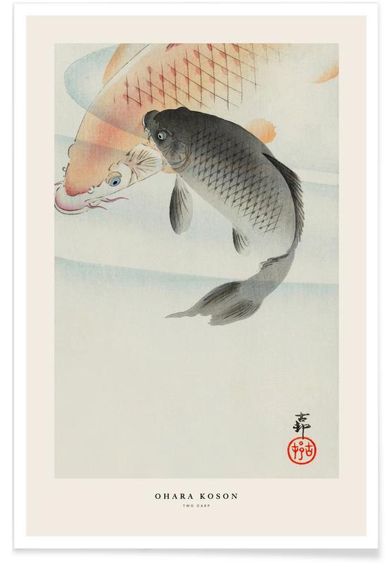 Japanese Inspired, Fish, Koson - Two Carp Poster