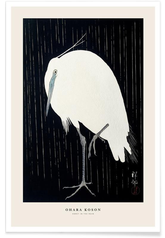 Japanisch inspiriert, Koson - Egret in the Rain -Poster