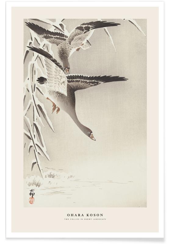 D'inspiration japonaise, Koson - Two Collies in Snowy Landscape affiche