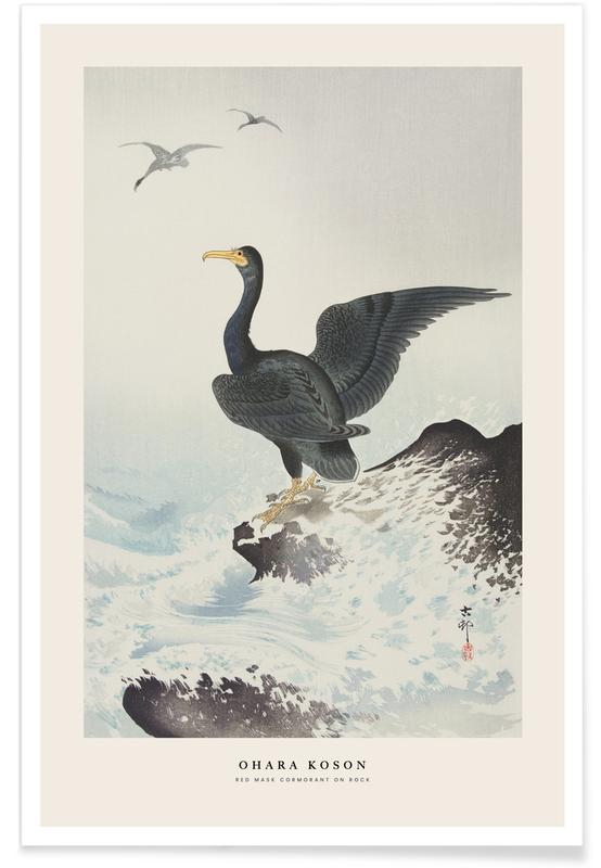 Japans geïnspireerd, Koson - Red Mask Cormorant on Rock poster