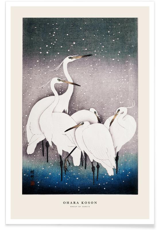 D'inspiration japonaise, Koson - Group of Egrets affiche