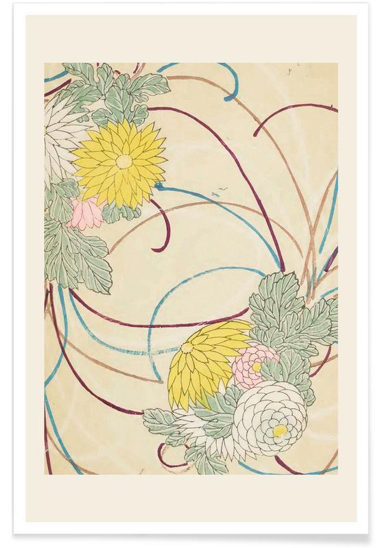 Vintage Reise, Japanisch inspiriert, Shin-Bijutsukai - Floral Lines -Poster