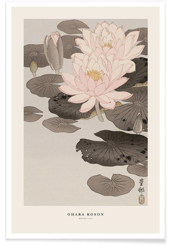 Lilies, Japanese Inspired, Koson - Water Lily Poster