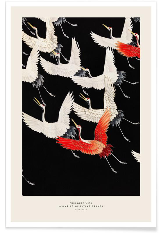 D'inspiration japonaise, Grues, Furisode with a Myriad of Flying Cranes affiche