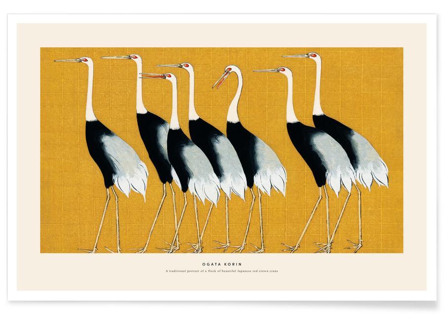 D'inspiration japonaise, Grues, Korin - Red Crown Crane affiche