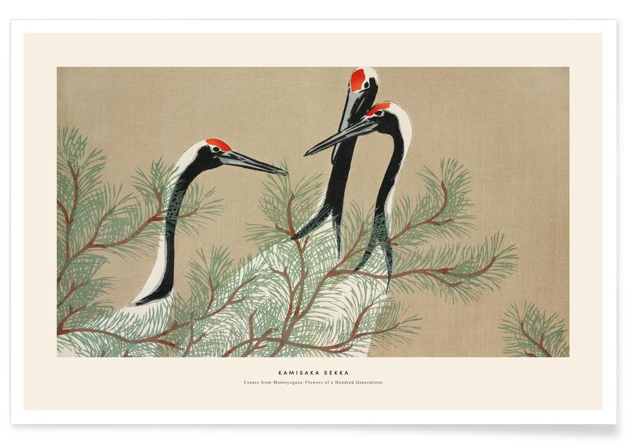 Japanese Inspired, Cranes, Sekka - Cranes from Momoyogusa Poster