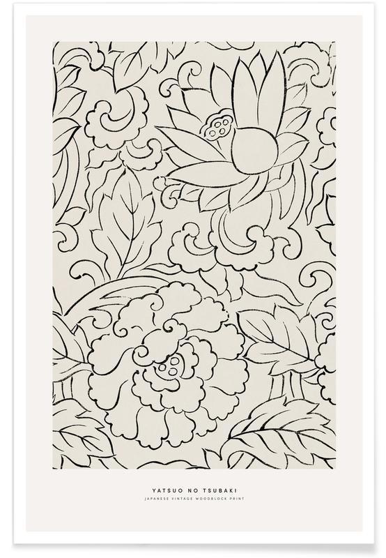 D'inspiration japonaise, Tomoki - Vintage Woodblock Print affiche