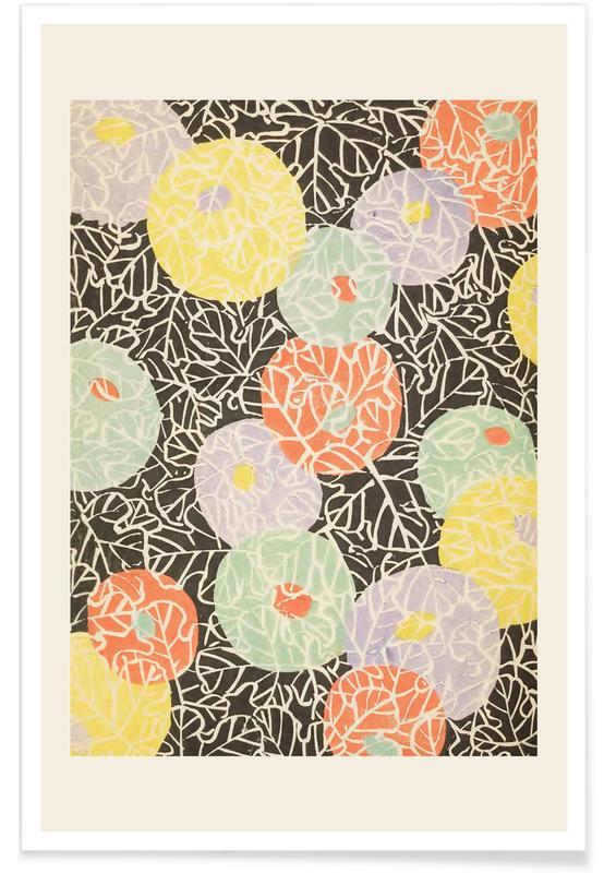 Shin-Bijutsukai, Vintage reis, Japans geïnspireerd, Shin-Bijutsukai - Floral Relief poster