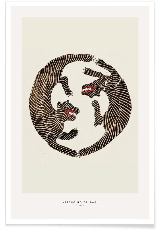 Tigers, Japanese Inspired, Tomoki - Tigers Woodblock Print Poster