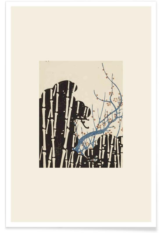 Vintage reis, Japans geïnspireerd, Shin-Bijutsukai - Forest poster