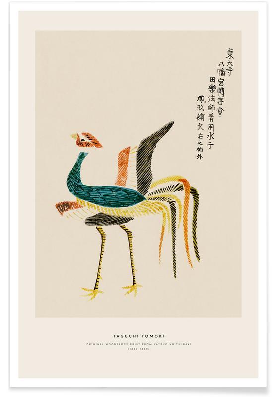D'inspiration japonaise, Grues, Tomoki - Crane Woodblock Print affiche