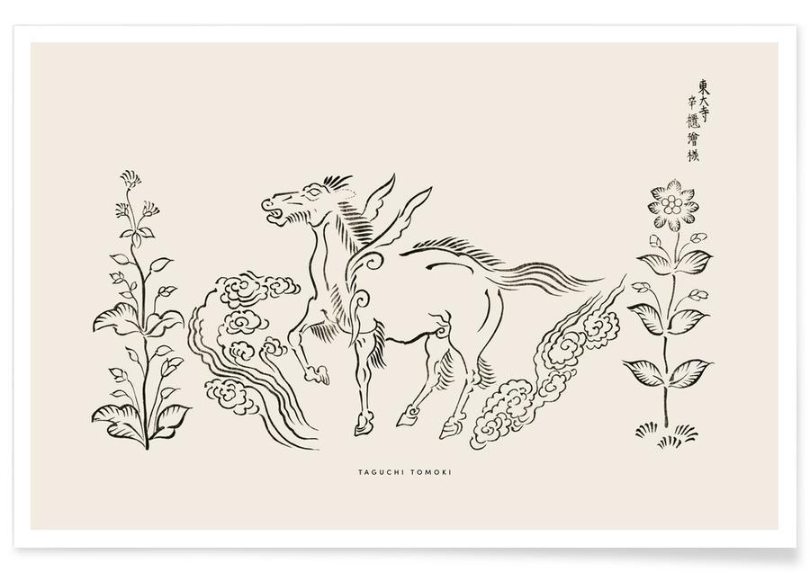 D'inspiration japonaise, Chevaux, Tomoki - Pegasus Woodblock Print affiche