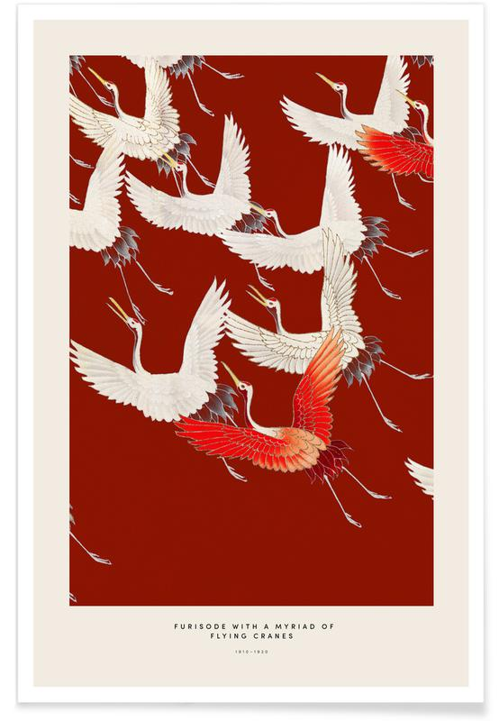 D'inspiration japonaise, Grues, Furisode with a Myriad of Flying Cranes II affiche