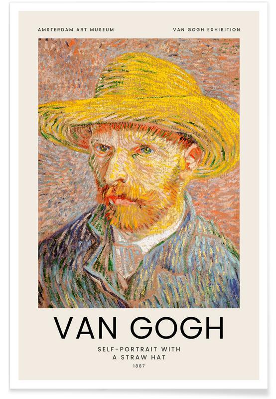 Portretten, Vincent Van Gogh, van Gogh - Self-Portrait with a Straw Hat poster
