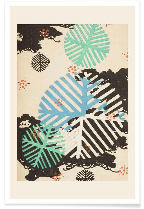 Vintage Reise, Japanisch inspiriert, Shin-Bijutsukai - Snowflakes -Poster