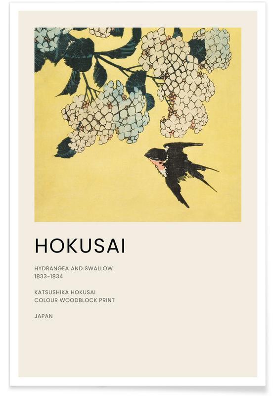 Katsushika Hokusai, Hokusai - Hydrangea and Swallow -Poster