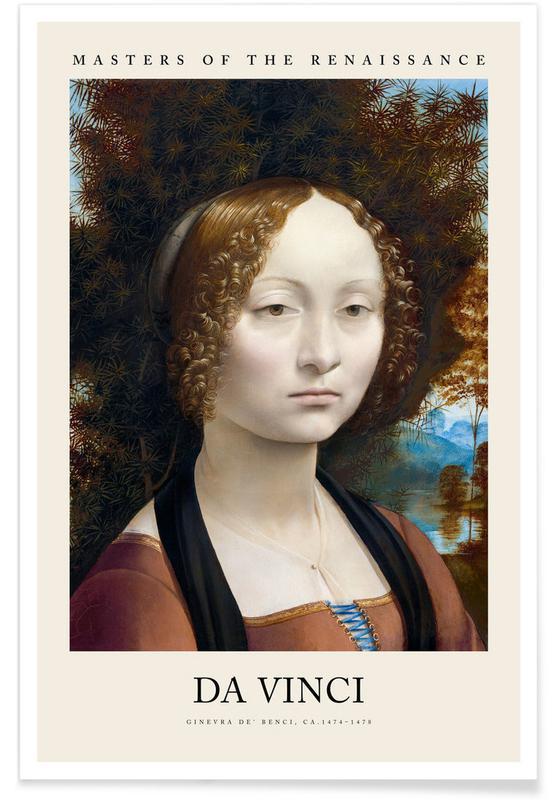 Portraits, Leonardo da Vinci, da Vinci - Ginevra de' Benci Poster