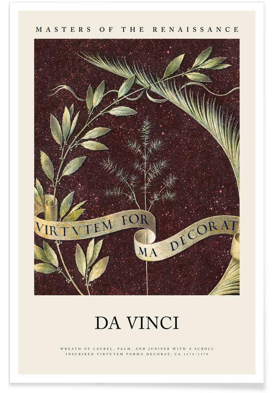 , da Vinci - Wreath of Laurel, Palm, and Juniper affiche