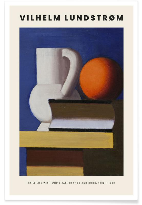 , Lundstrøm - Still Life with White Jar, Orange and Book affiche