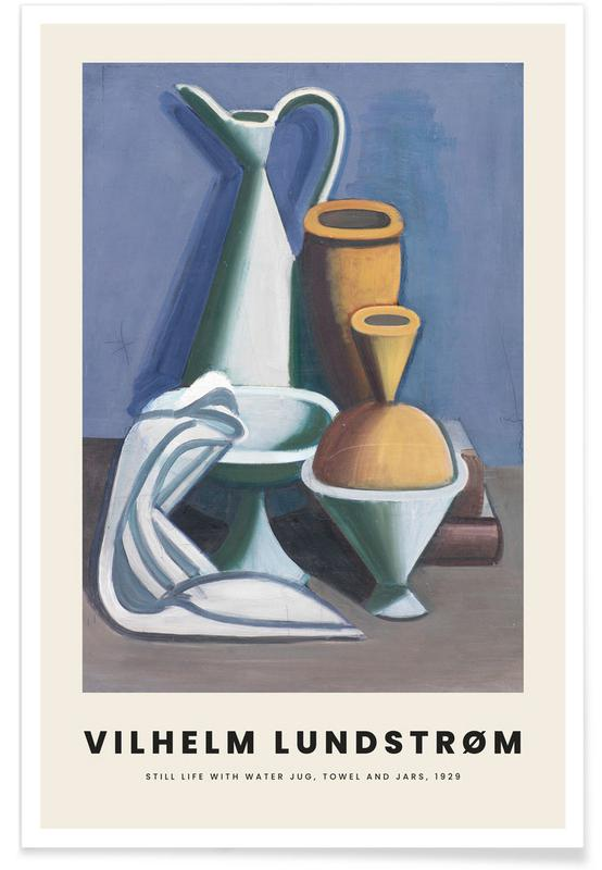 , Lundstrøm - Still Life with Water Jug, Towel and Jars affiche
