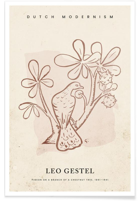 , Gestel - Pigeon on a Branch of a Chestnut Tree affiche